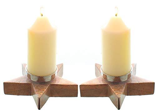 Novaliv Set di 2 portacandele a forma di stella per 2 candele, in legno di mango, centrotavola dell'Avvento, portacandele in metallo