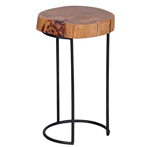 FineBuy Beistelltisch Massiv-Holz Akazie Wohnzimmer-Tisch Metallbeine Landhaus-Stil Baumstamm-Form Echt-Holz Natur-Produkt Couchtisch Modern Anstelltisch Unikat Telefontisch unbehandelt Tisch rund