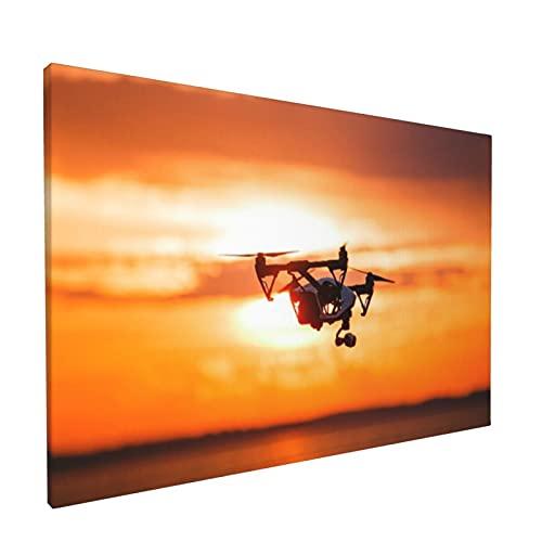 "Sin Marco Mural Impresiones en Lienzo,Quadrocopter Drone Control Remoto Silueta Oscura,Oficina en Casa Decoración Mural Pintura al óleo Arte de Moda,18"" x 12"""