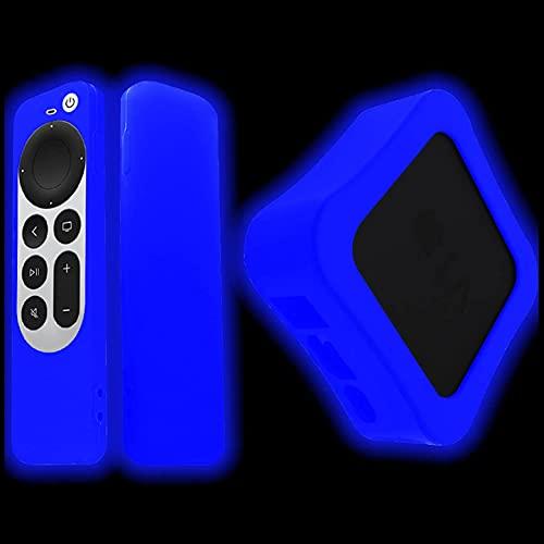2021 Apple TV 4K Remote Case y TV Box Case Compatible,Prueba de Golpes a Prueba de Polvo para Apple TV 4K 6th Gen Siri Remote Controller y TV Box (Luminous Blue)