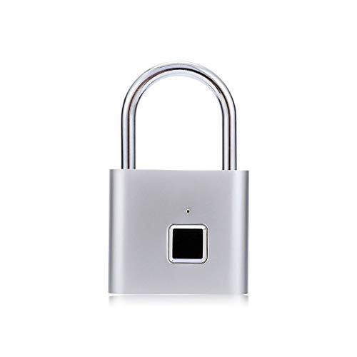 LAHappy Fingerprint Padlock, Smart Electronic Fingerprint Door Lock, Mechanical Handle Lock Suitable for Home, Hotel,Apartment,School & Interior Door USB Charging,Silver