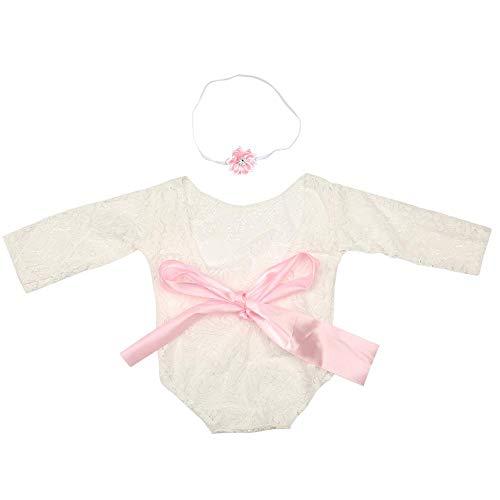 Babyspeelpak, pasgeborenen zacht comfortabel baby meisje kant speelpak infant foto prop kleding outfit met haarband roze