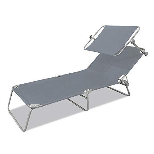 LZQ Sonnenliege Klappbar 188 x 56 x 27 cm Gartenliege Camping Liege mit Dach Liegestuhl Relaxliege Sonnendach und Rückenlehne Verstellbar - Grau mit Dach