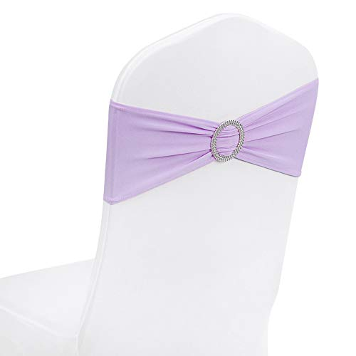 Peomeise 100pcs Lavender Spandex Chair Sashes with Buckle Slider for Wedding, Party Decoration