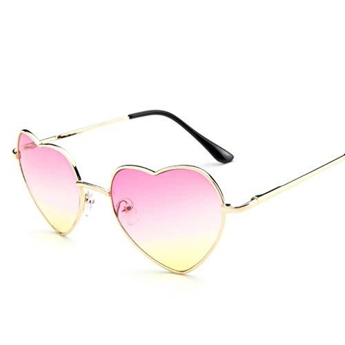 UKKD Gafas De Sol Mujeres Amor Corazón En Forma De Gafas De Sol Mujeres Hombres Pequeños Gafas De Sol Rojas Damas Sexy Dulce Dulce Marca Diseño Espejo Gafas-C1 Pink Yellow