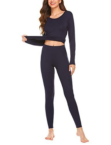 ADOME Damen U-Ausschnitt Thermounterwäsche Set Unterhemd + Unterhose Warme Unterwäsche Set Leggings