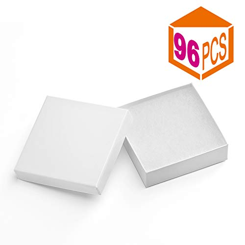 MESHA Jewelry Boxes 3.5x3.5x1 Inches Paper Gift Boxes White Cardboard Bracelet Boxes with Cotton Filled (White-96Pcs)