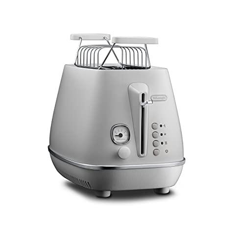 De'Longhi Toaster De'Longhi Distinta Moments CTIN2103.W-Tostadora con 2 ranuras y accesorio para panecillos, acero inoxidable con acabado metálico mate con detalles cromados, color blanco