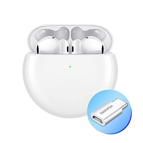 Huawei FreeBuds 4 Auricolari con Design Open-Fit Wireless Bluetooth, Adattatore AP52, Cancellazione del Rumore Attiva Ibrida, Triplo Microfono, Connessione Audio Intelligente, Ceramic White