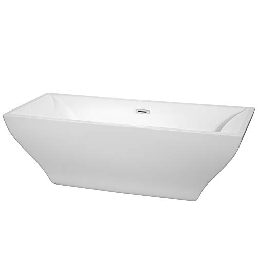 Wyndham Collection Maryam 71 inch Freestanding Bathtub in White with Polished Chrome Drain and Overflow Trim