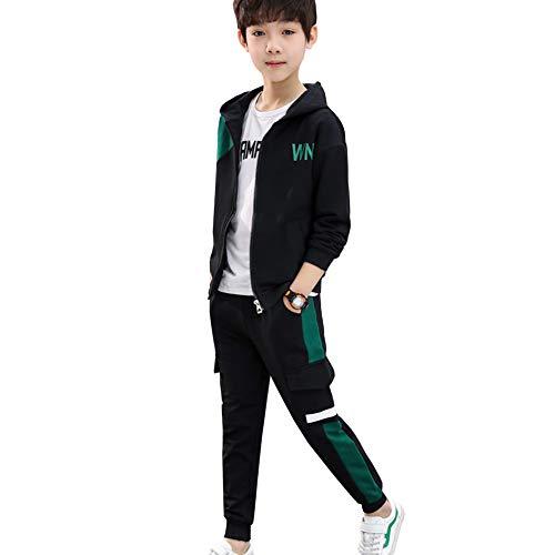 SXSHUN Kinder Jungen 3tlg Trainingsanzug Bekleidungsset Jogginganzug Zweiteiler Sportanzug Freizeitanzug Outfit-Set Kapuzenpullover (Sweatshirt + Sweathose), Grün, 122-128