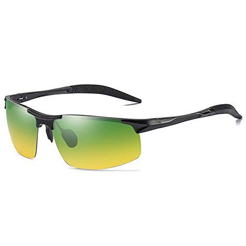 LALB Gafas De Sol, Gafas De Sol Polarizadas para Deportes De Medio Marco De Magnesio De Aluminio para Hombre, Visión Nocturna Día Y Gafas De Sol Polarizadas Nocturnas,G