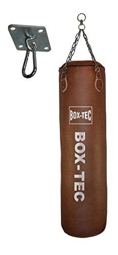 Box-Tec Boxsack Sandsack MMA Kickboxen Muay Thai Retro 150cm Set, gefüllt inkl. Deckenhalterung und Vierpunkt-Kette