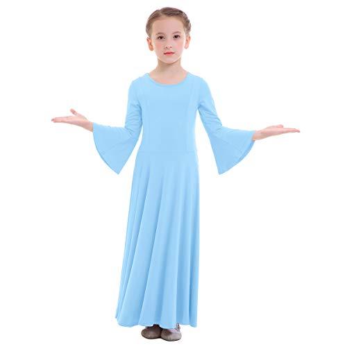 OBEEII Niñas Vestido Liturgico Danza Maillot Leotardo Gimnasia Disfraz de Baile Clásica Combinación para Danza Iglesia Ceremonia Casual 003 Azul Claro 13-14 Años