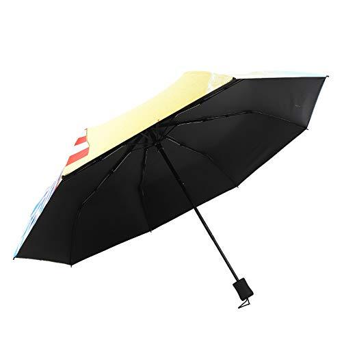Ombrello pieghevole 50% ultraleggero a 8 ossa, ombrellone tascabile da spiaggia, piega antivento portatile gialla sul mare
