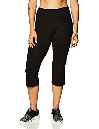 Jockey Women's Slim Capri Flare Athletic Pant, Deep Black, Large