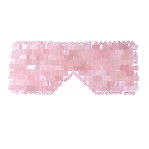 EXCEART Natürliche Jade Schlafmaske Anti-Aging Gesichtsschlaf Augenmaske Heiße Oder Kalte Augenbinde für Geschwollene Augen Augenringe Kopfschmerzen Migräne Rosa