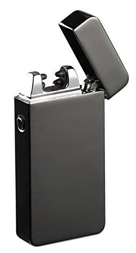 PEARL Lichtbogenfeuerzeug: Elektronisches Feuerzeug mit doppeltem Lichtbogen, Akku, USB, schwarz (Elektrische Feuerzeuge)