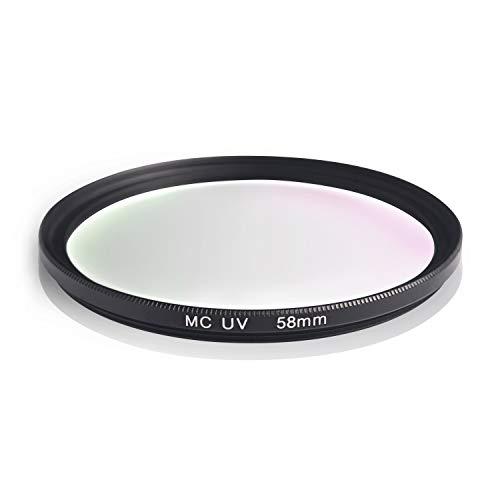 Filtro UV MC. Marco de Aluminio y Vidrio óptico. Resistente a los arañazos y Repelente al Agua. para Canon Sony Nikon Leica Fujifilm Panasonic Pentax Sigma Tamron Pentax (58mm)