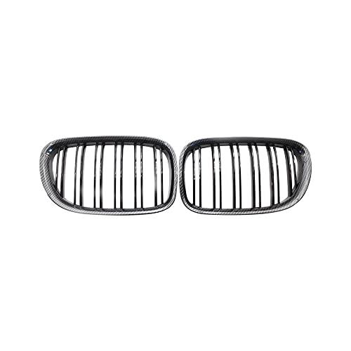 YAOXUAN 2X Glossy Black Carbon Fibra Frontal Rejilla Ridney Línea Doble Parrillas Capuchas para F02 F01 730 740 750 760 745Li 2009-2017