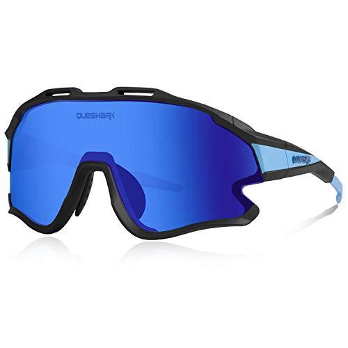 Queshark Gafas Ciclismo Deportivas con Montura MTB TR90 Gafas de Bicicleta Para Hombres Mujeres con 1 Polarizadas 3 HD Lentes Intercambiables Anti-UV400 QE0051