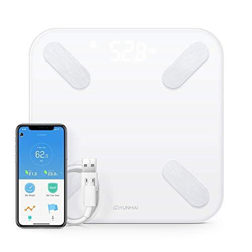 Báscula de Baño Digital Bluetooth de Alta Precisión Con Pantalla LED Oculta Realiza 10 Mediciones Diferentes, Batería Recargable Vía USB Compatible con Aplicaciones de iOS y Android.