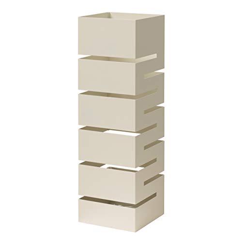 Paragueros Modernos Baroni Home Diseño Moderno con Tallado de Lluvia - Paragueros Originales Blanco con Gancho y Bandeja de Goteo Extraíble para Decorar el Hogar y la Oficina 15,5x15x49 cm