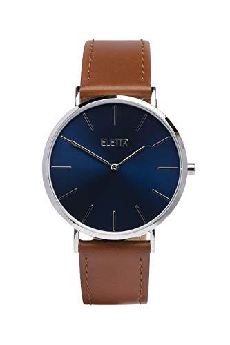 ELETTA - Reloj para Hombre com Regalo - Caja de 41Mm - Esfera Azul - Cuarzo - Analógico - con Correa de Piel + Correa de Regalo - Modelo Drive