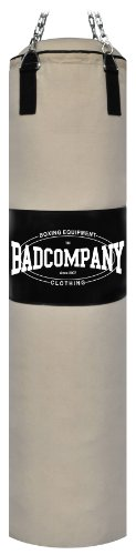Bad Company Boxsack inkl. Heavy Duty Stahlkette I Canvas Punching Bag, gefüllt I 100 x 30 cm - Weiß
