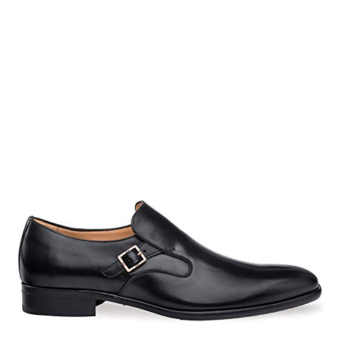 Mezlan Foggia - Mens Luxury Plain Toe Slip On with Side Buckle - European Calfskin - Handcrafted in Spain - Medium Width (10, Black)