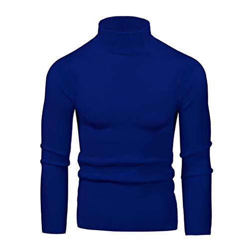 Beautyfine Men's Bottoming Sweater High Collar Large Elastic Long Sleeve Turtleneck Tops Dark Blue