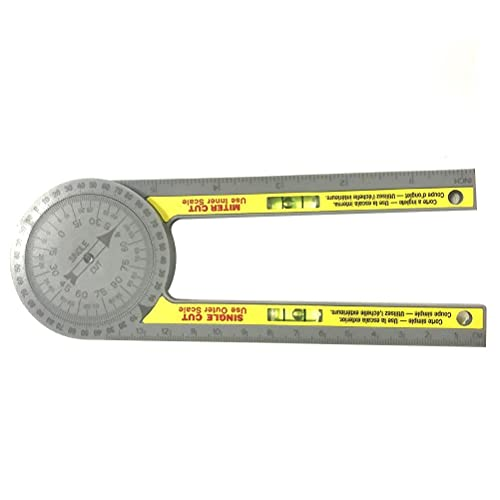 Lubudup Transportador de ángulos, herramienta de sierra ingletadora, transportador de ángulos, medición de transmisión para carpinteros, fontaneros, trabajos de metal