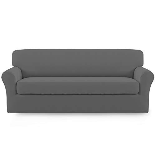Easy-Going 2 piezas de microfibra elástica funda de sofá – Spandex suave funda de sofá ajustable lavable protector de muebles con parte inferior elástica para niños (sofá, gris)