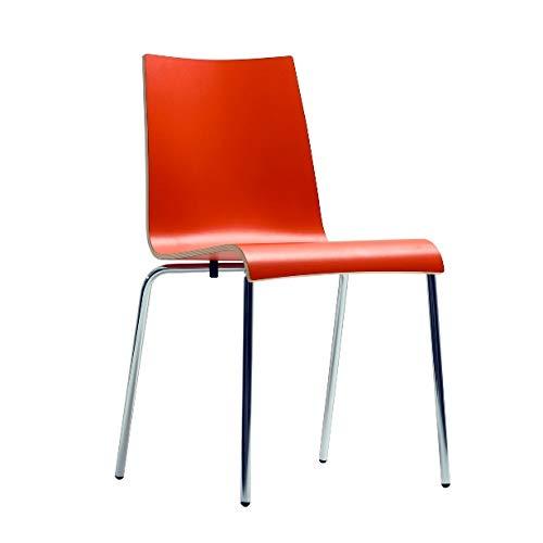 pemora Stapelstuhl Metallstuhl Kantinenstuhl Esszimmerstuhl Stuhl Metall Gestell Roman HPL Mandarine