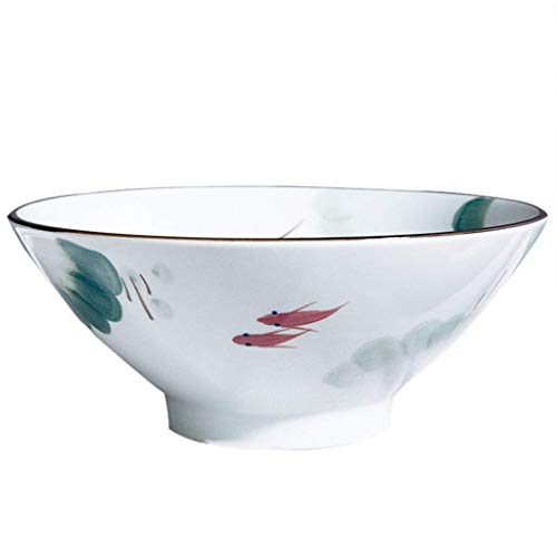 QTQHOME Vintage Japanese Style Hand-Painted Flower Classical Ceramic Tableware Kitchen Soup Noodle Rice Bowl Fruit Salad Bowl Big Ramen Bowl (Color:White,Size:18.5cmx8cm)