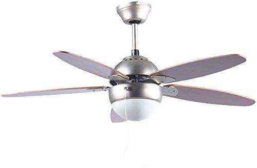 Sichler Haushaltsgeräte Lampe mit Ventilator: Deckenventilator VT-597 mit Holzflügeln und Beleuchtung, Ø 92 cm (Deckenventilator mit Lampe)