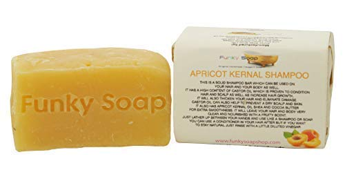 Funky Soap Aceite de Albaricoque Champú Sólido de Cabello y Cuerpo, 100% Natural Artesanal, 1 Barra de 120G