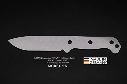 Rohling Messer Model 26 / 260mm Poliert Messerbau Messerstahl Messerklinge Klingenrohling Jagdmesser