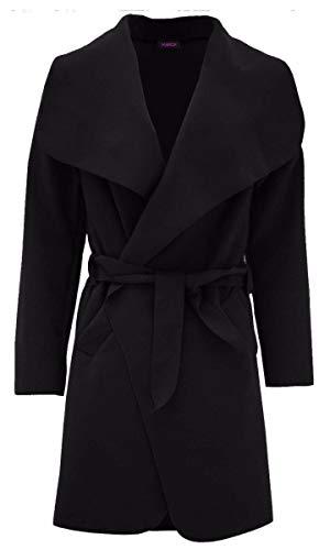 NAZ Fashion Damen-französischer Wasserfallmantel-Frauen-Kurzes langärmliges Trench Belted Jacket EU 36-42
