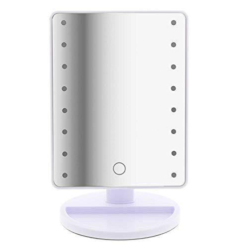 T24 LED Tageslicht Kosmetikspiegel 180° drehbar 16 LED-Leuchten mit Licht LED Make up Spiegel Faltbarer Standspiegel Tischspiegel