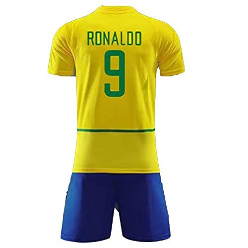 MFFZHJ 2002 Retro Jersey de fútbol Adecuado para Brasil # 9 Ronaldo # 11 Ronaldinho # 10 Rivaldo # 6 R.Carlos Home Soccer Jersey, número Personalizado y Nombre, Fútbol SPOR #9-28