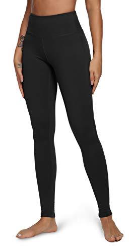 QUEENIEKE Yoga Leggings mit Tasche Klassische Bauchkontrolle Mittlere Taille Laufhose Workout Sporthose für Damen Farbe Schwarze Größe XL(14)