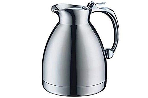 alfi Thermoskanne Hotello, doppelwandiger Edelstahl poliert 0,6l, geignet für Hotel und Gastronomie, Isolierkanne 0557.000.060 hält 8 Stunden hieß, Kaffeekanne oder Teekanne für 5 Tassen