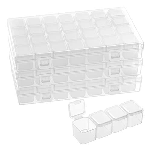 Belle Vous Kunststoff Sortierboxen für Kleinteile mit 28 Fächer (3er Pack) - Transparente Aufbewahrungsbox mit Deckel Diamond Organizer – Sortierkasten für Straßsteine, Perlen, Bastel Zubehör