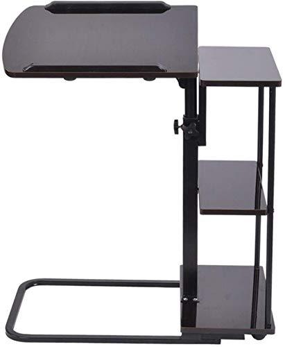 Mesa ajustable para el hogar, oficina, mesa de escritorio con ruedas, bandeja de altura ajustable, mesa lateral para ordenador portátil, bandeja para sofá cama, mesa negra