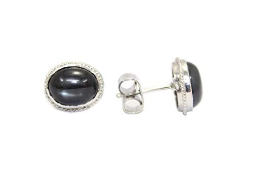 PH - Pendientes de tuerca hechos a mano de plata de ley 925 para mujer con piedras de estrella negra, talla M
