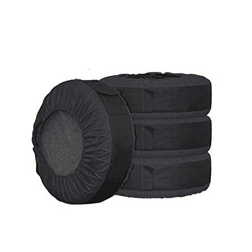 FLR 4Pcs Tire Cover 30in Tire Cover Black Waterproof Spare Tire Covers Protection Covers Seasonal Tire Storage Bag for Car Off Road Truck Tire