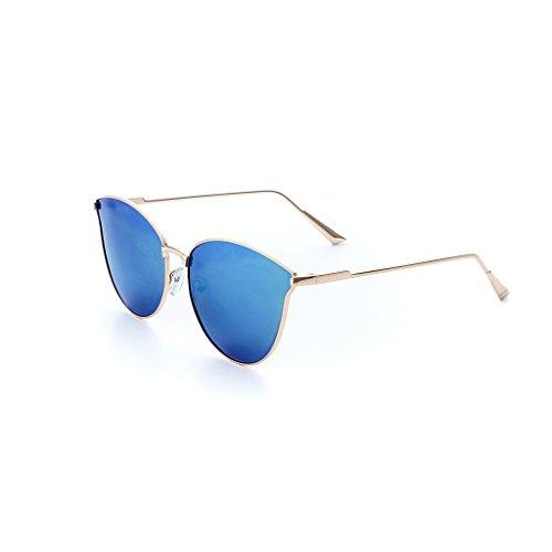 Picobao zonnebril bril vierkant montuur gepolariseerde zonnebril vrouwen buiten speelruimte glazen mode-klassieke grote frame-drijvende spiegel goud frame blauw spiegel koper