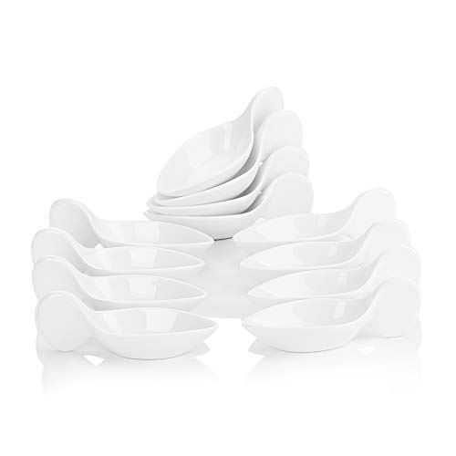 MALACASA 12pcs Bol à Sauce Tapas Apéritif Snack Bowl en Porcelaine Céramique Blanc Taille Petite! 11.5 * 4.5 * 4cm Service Vaisselles