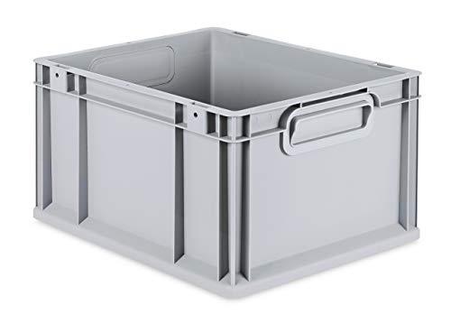 aidB Eurobox NextGen Grip, 400x300x220 mm, Griffe geschlossen, robuste Plastikbox aus Kunststoff mit ergonomischen Griffen, stapelbare Kunststoffkiste, ideal für die Industrie, 1St.